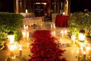 Romantic Proposal with Trail of Flowers